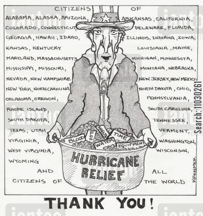 citizens cartoon humor: Hurricane Relief Thank You To States And The World.