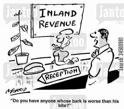 tax inspections cartoon humor: Do you have anyone whose bark is worse than their bite?
