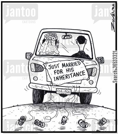 golddigging cartoon humor: Just Married for his Inheritance.