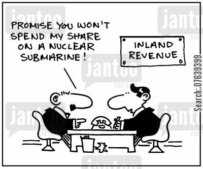 military spending cartoon humor: 'Promise you won't spend my share on a nuclear submarine.'