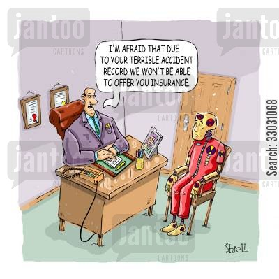 crash test cartoon humor: Crash Test Dummy Denied Insurance.