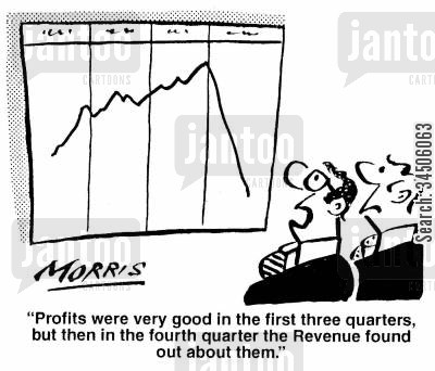 profit report cartoon humor: 'Profits were very good in the first three quarters, but then in the fourth quarter the Revenue found out about them.'