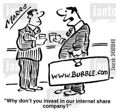 internet share cartoon humor: 'Why don't you invest in our internet share company?'