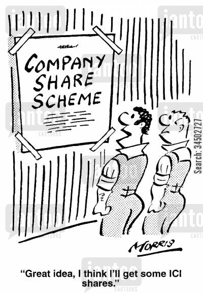company shares cartoon humor: Great idea, I think I'll get some ICI shares.