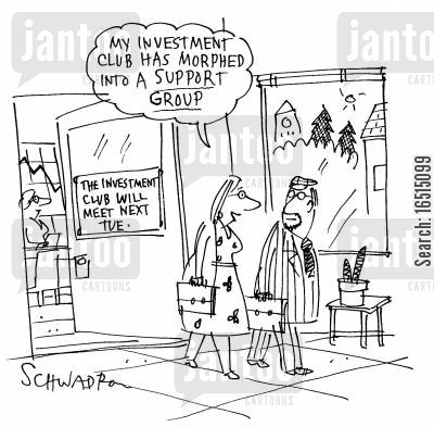 morphing cartoon humor: 'My investment club had morphed into a support group.'
