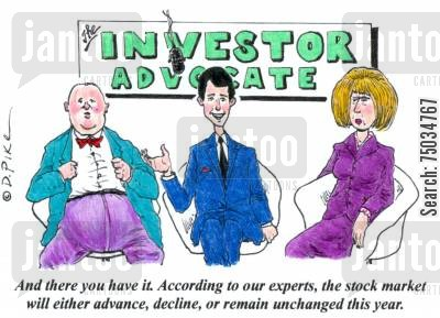 mutual funds cartoon humor: 'And there you have it. According to our experts, the stock market will either advance, decline, or remain unchanged this year.'