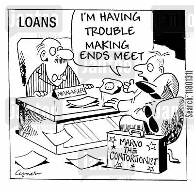 contortionist cartoon humor: I'm having trouble making ends meet.