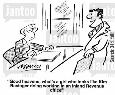 flaterring cartoon humor: Good heavens, what's a girl who looks like Kim Basinger doing working in an Inland Revenue office?