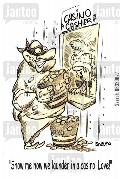 casino cartoon humor: Show me how we launder in a casino, Love!