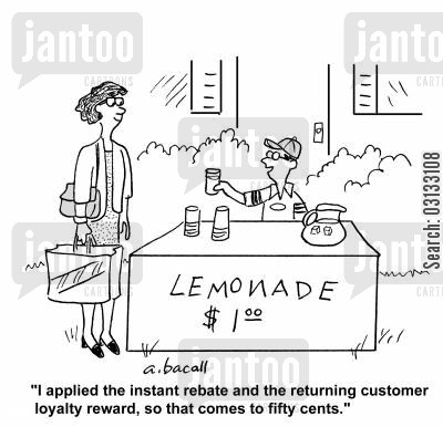 customer appreciation cartoon humor: 'I applied the instant rebate and the returning customer loyalty reward. So that comes to fifty cents.'