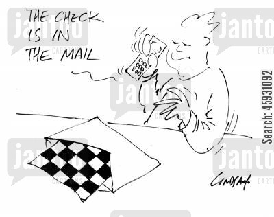 sending letters cartoon humor: Check's in the mail...