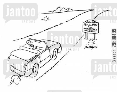 city cartoon humor: Entering Appomatox. Made possible by a grant.