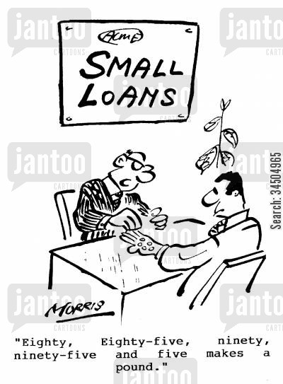 small change cartoon humor: Eighty, eighty five, ninety, ninety five and five makes a pound.
