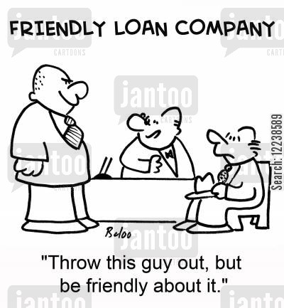 friendly company cartoon humor: 'Throw this guy out, but be friendly about it.'