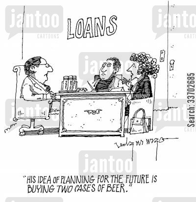 future security cartoon humor: 'His idea of planning for the future is buying two cases of beer.'