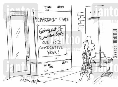 low sales cartoon humor: Going Out of Business Sale