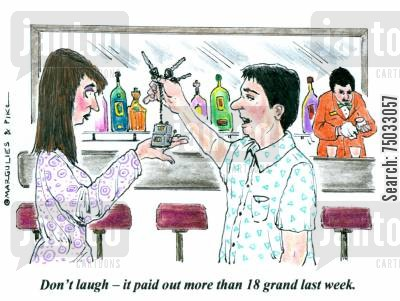 slots cartoon humor: 'Don't laugh - it paid out more than 18 grand last week.'