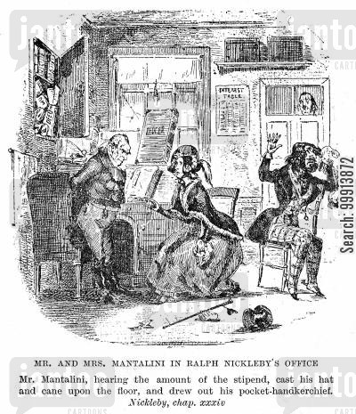 dandy cartoon humor: Mr. and Mrs. Mantalini in Ralph Nickleby's office