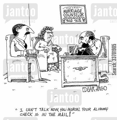 marriage counselors cartoon humor: 'I can't ta;l now, you moron. Your alimony check is in the mail!'