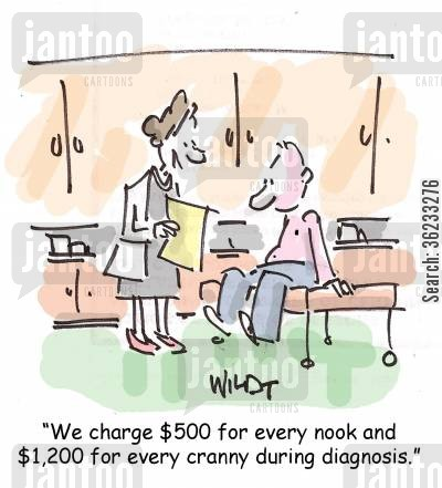 medical bill cartoon humor: We charge $500 for every nook and $1,200 for every cranny during diagnosis.