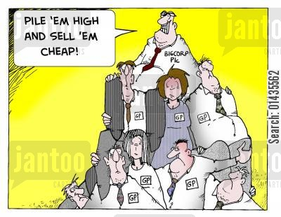 private medical care cartoon humor: Privatising the NHS: 'Pile 'em high and sell 'em cheap.'