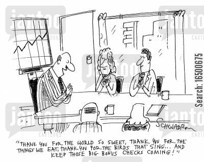 bonus cheques cartoon humor: ...and keep those big bonus checks coming in!