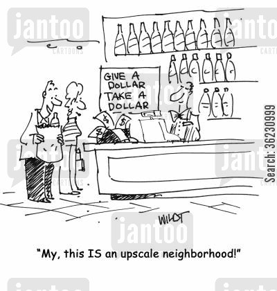 rich and wealthy cartoon humor: 'My, this IS an upscale neighborhood!'