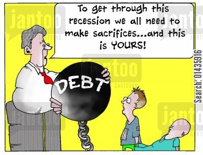 generations cartoon humor: 'To get through this recession we all need to make sacrifices...and this is YOURS.'