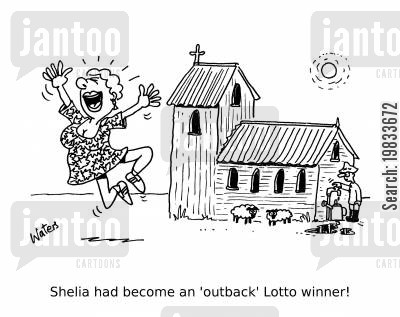 lotteries cartoon humor: Shelia had become an 'outback' Lotto winner!