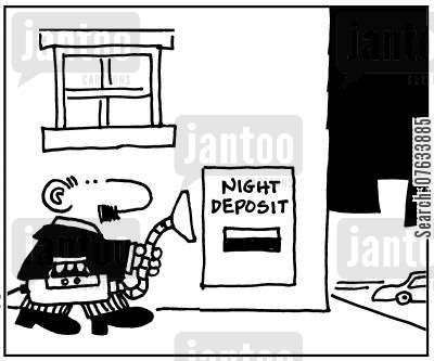 night deposits cartoon humor: Night Deposits.
