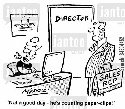 fixation cartoon humor: Not a good day - he's counting paper-clips.