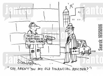lost everything cartoon humor: 'Say, aren't you my old financial advisor?'