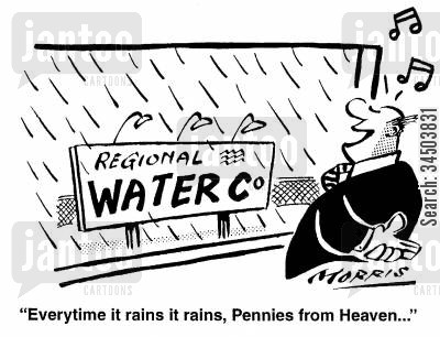 gains cartoon humor: Every time it rains it rains, Pennies from Heaven...