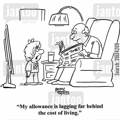 living costs cartoon humor: Kid to dad: 'My allowance is lagging far behind the cost of living.'