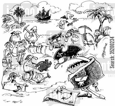 treasure map cartoon humor: Pirates find out treasure is a piggy bank.