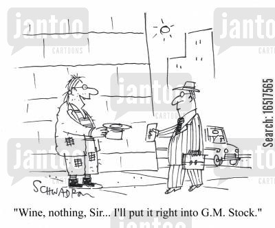 general motors cartoon humor: 'wine, nothing, Sir... I'll put it straight into G.M. Stock.'