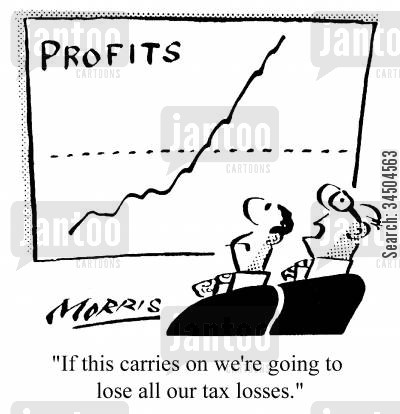 tax loss cartoon humor: If this carries on we're going to lose all our tax losses.