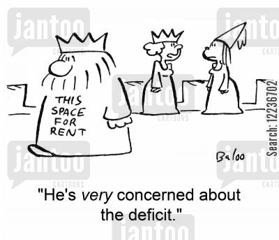 this space for rent cartoon humor: 'He's very concerned about the deficit.'