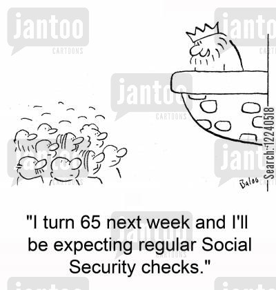 balconies cartoon humor: 'I turn 65 next week and I'll be expecting regular Social Security checks.'