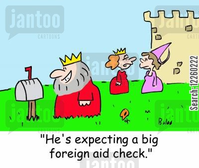 charity support cartoon humor: 'He's expecting a big foreign aid check.'