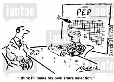 distrust cartoon humor: I think I'll make my own share selection.