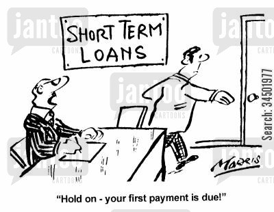 speediness cartoon humor: Hold on - your first payment is due!