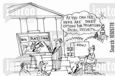 federal government cartoon humor: 'As you can see, here are three options for privatizing social security...'