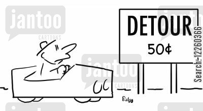 tolls cartoon humor: Detour 50c.