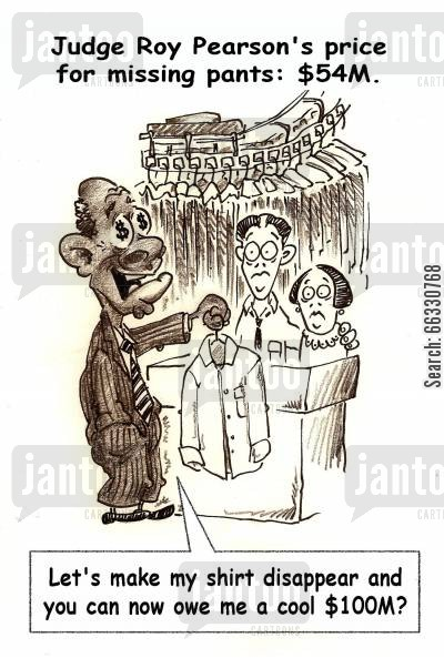 barack obama cartoon humor: Judge Roy Pearson's price for missing pants: $54M.