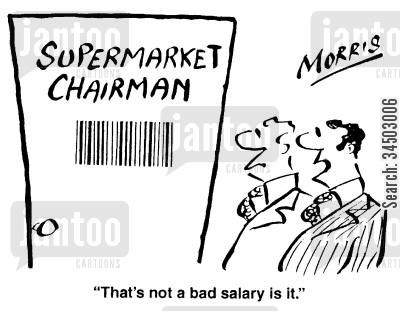 decode cartoon humor: That's not a bad salary is it.