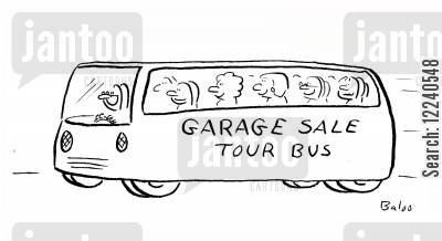 bargain hunting cartoon humor: GARAGE SALE TOUR BUS