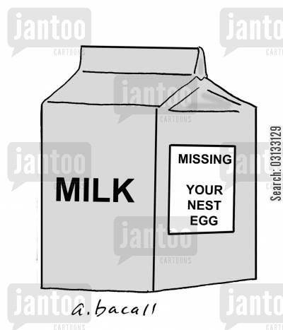 missing person cartoon humor: Milk Carton: Missing Your Nest Egg