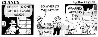 money-making schemes cartoon humor: Clancy: Used Paint Sale