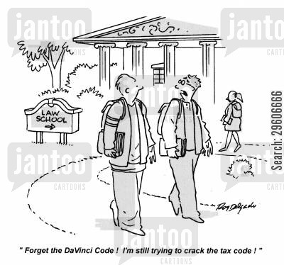 tax code cartoon humor: 'Forget the DaVinci Code! I'm still trying to crack the tax code!'